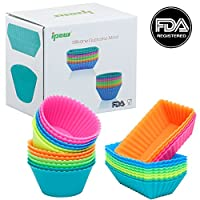 Ipow Thicken Silicone Cupcake Baking Muffin Cups Liners Molds Sets,24pack