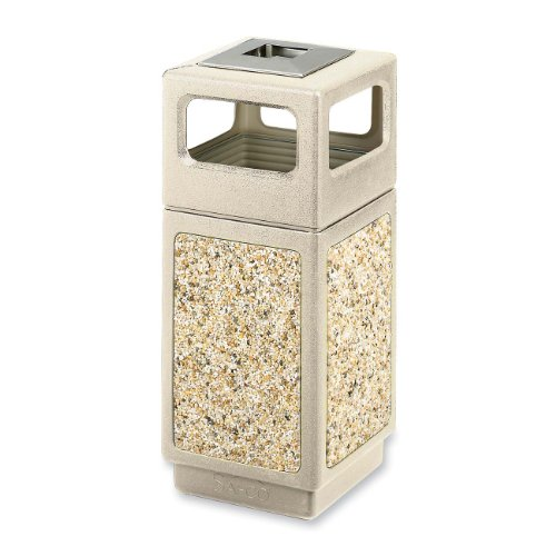 Safco Products 9470TN Canmeleon Aggregate Panel Waste Receptacle Side Open with Ash Urn, 15-Gallon, (Aggregate Panel)