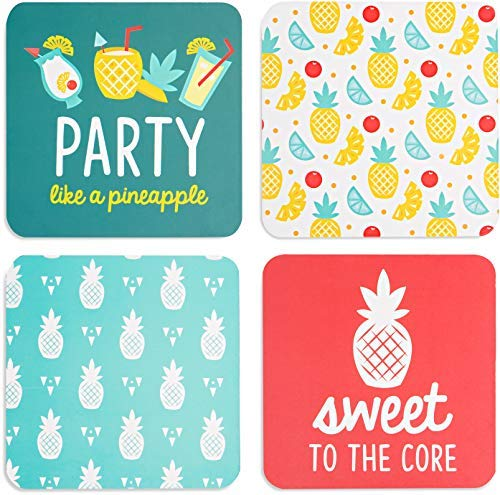 Pavilion Gift Company 73226 Pineapple Punch Coaster Set, 4 x 4 Inch