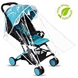 Baby Stroller Rain Cover Weather Shield Accessories Universal Size Protect from Rain Wind Snow Dust Insects Water Proof Ventilate Clear Food Grade Materia EVA Plastic Zipper Black White (white - small)