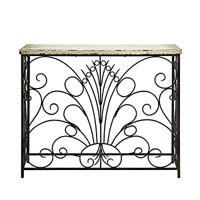 Powell Furniture Parcel Console Table, White - Layered antique white finish Console table Unique addition to any room in your home - living-room-furniture, living-room, console-tables - 51WNlA4QJFL. SS400  -