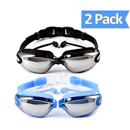 OuSunTa Pack of 2 Swimming Goggles Professional Anti Fog No Leaking UV Protection Wide View Swim Goggles For Women Men Adult Youth (Black or Blue) ()