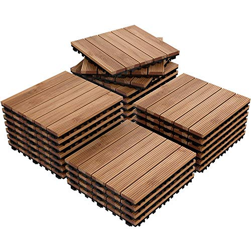 Yaheetech 27PCS Patio Pavers Interlocking Wood Composite Decking Flooring Deck Tiles 12 x 12 Fir Wood and Plastic Indoor Outdoor Applications Stripe Pattern -