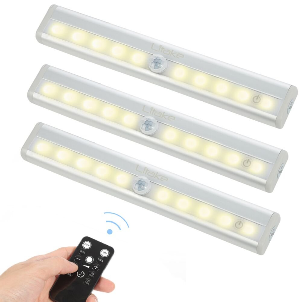 Litake Remote Control LED Lights Bar, Wireless LED Under Cabinet Lighting, Dimmable Battery Operated Closet Light Stair Night Lights, Stick on Anywhere Safe Light for Kitchen Hallway Bedroom, Square