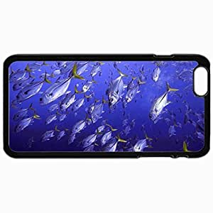 Customized Cellphone Case Back Cover For iPhone 6 Plus, Protective Hardshell Case Personalized Horse Eye Jacks Underwater Sea Fishes Ocean Water Black
