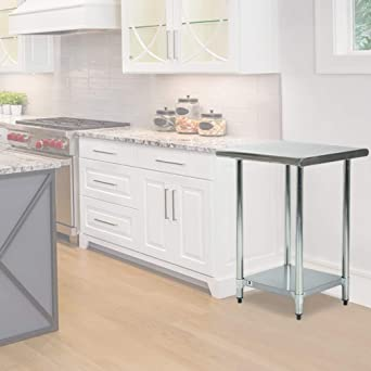 FDW Heavy Duty Commercial Stainless Steel 24x24 Inch Kitchen Work Table,  24u0026quot;,
