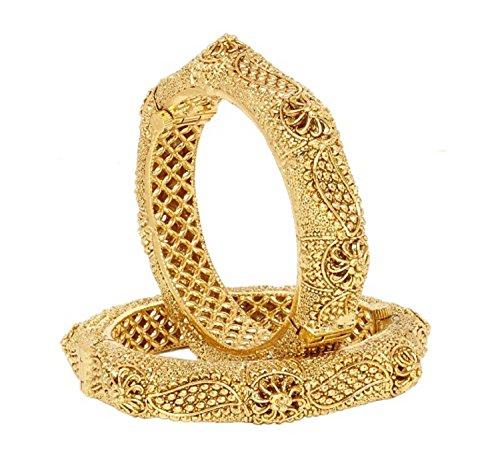 Joyeria Zircon Fashion Indian Fashionable Traditional Look Antique Gold Polished Openable Bangles Pairs (2.4)