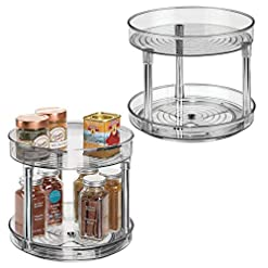 Kitchen mDesign 2 Tier Lazy Susan Turntable Food Storage Container for Cabinets, Pantry, Fridge, Countertops – Raised Edge… lazy susans