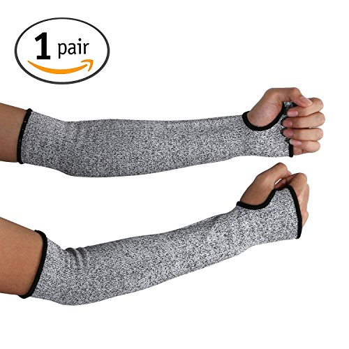 Glass Gloves (Cut Resistant Sleeves 14-Inch Cut Resistant Knit Sleeves - Level 5 Protection, Slash Resistant Sleeves with Thumb Slot Helps Prevent Scrapes, Scratches Skin Irritations UV-Protection, 1 Pair)
