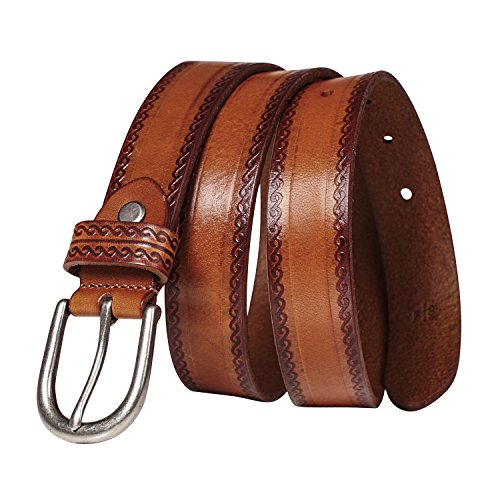 GSG Womens Embossed Jeans Belts Fashion Ladies Casual Leather Pin Belts Cognac L