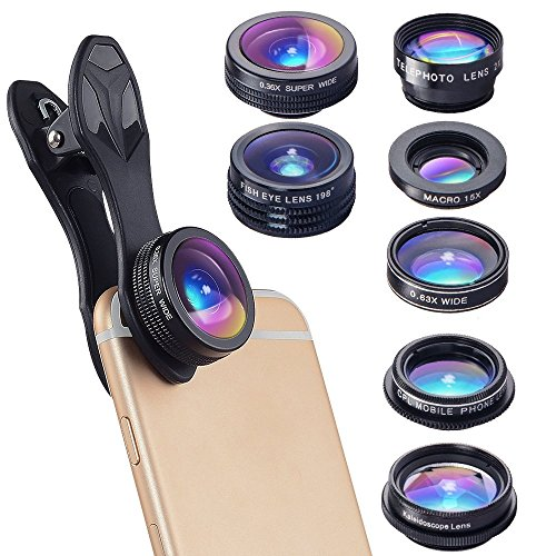 7 in 1 Cell Phone Camera Lens Kit Zoom Telephoto Lens + Fisheye + Wide Angle + Macro Lens + CPL + Kaleidoscope + Super Wide Lens iPhone Samsung LG - Lens Kaleidoscope