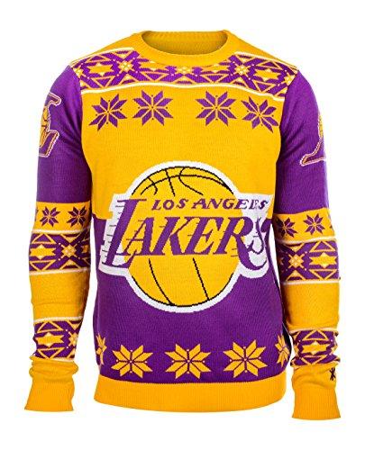 NBA Los Angeles Lakers Youth Boys Long Sleeve Ugly Sweater, Purple/Yellow, Medium (10/12)