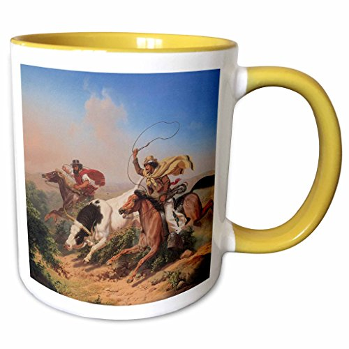 - 3dRose BLN American West Fine Art Collection - Vaqueros Roping a Steer by Charles Christian Nahl American West - 15oz Two-Tone Yellow Mug (mug_126719_13)