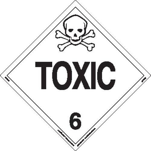 Labelmaster Z-PSR27 Toxic Hazmat Placard, Worded, Removable Vinyl (Pack of 25)