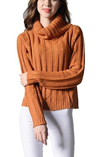 YOURNELO Women's Simple Vertical Stripes Turtleneck Knit Tunic Pullover Sweater (M, Orange)
