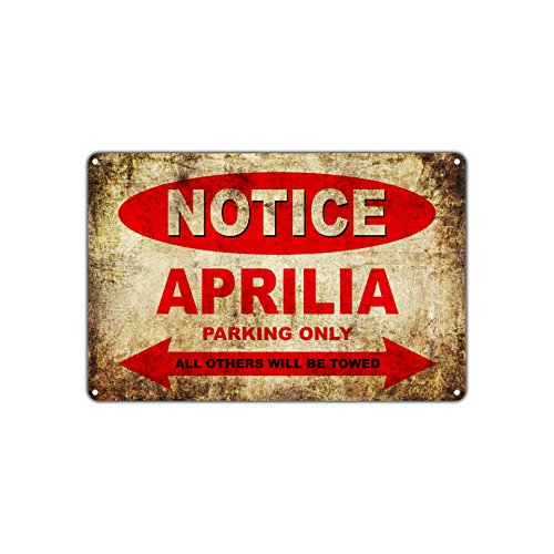 "APRILIA Motorcycles Bikes Only All Others Will Be Towed Parking Sign Vintage Retro Metal Decor Art Shop Man Cave Bar Aluminum 12""x18"" Sign Plate"