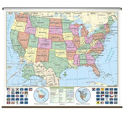 Classroom Pull Down World Map.Amazon Com Us Essential Classroom Wall Map On Roller Office Products