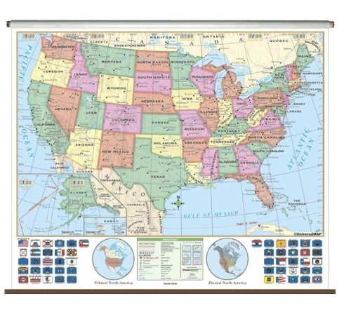 US Essential Classroom Wall Map on Roller