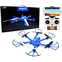 Ei-Hi S19R 2.4GHz 4 Channel 6 Axis Gyro Remote Control RC UFO Hexcopter Drone with Real-Time Streaming FPV Camera, Blue