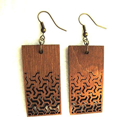 Wooden Rings Jewelry - Rectangle earrings - Long Wooden earrings - Fractal geometry jewelry - Eco-friendly Jewelry - Bohemian earrings