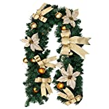 Hootech Christmas Garland 6 Feet Artificial Wreath with Berries and Pinecones Xmas Decorations Home Decor (Gold)