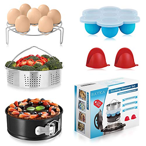 Expanding Trivet (BAYKA Pressure Cooker Accessories Set Compatible with Instant Pot 5,6,8 QT, Steamer Basket, Springform Pan, Bites Molds, Egg Rack, Mini Mitts, 5-in-1)