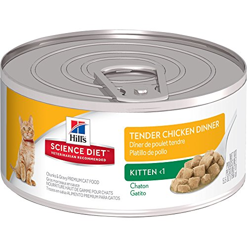 Hill's Science Diet Kitten Wet Cat Food, Tender Chicken Dinner Chunks & Gravy Canned Cat Food, 5.5 oz, 24 Pack