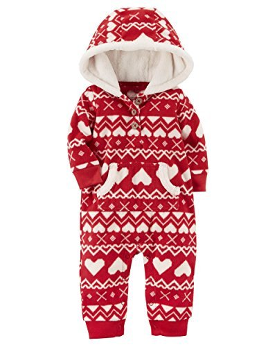 Carter's Baby Girls' One Piece Heart Print Fleece Jumpsuit, Red, 24 ()