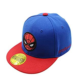 Diluma Kids Spider Man Cartoon Falt Hat Snapback Baseball Cap (Blue)