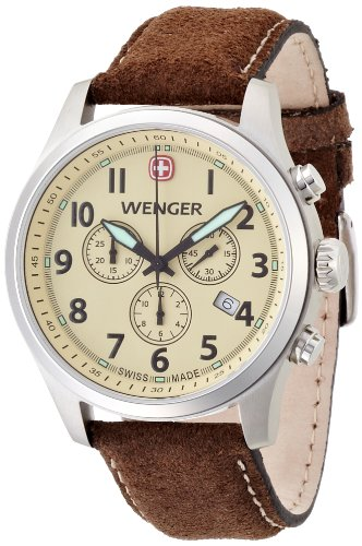 Wenger Terragraph Chrono Men's Quartz Watch with Beige Dial Analogue Display and Brown Leather Strap 010543105