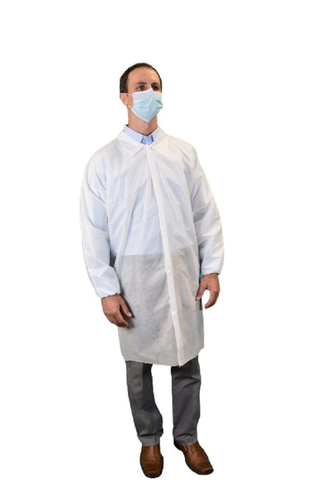 Keystone LC0-WE-SMS-XL-WHITE SMS Lab Coat, No Pocket, Elastic Wrists, Snap Front, Single Collar, XL, White (Pack of 30)