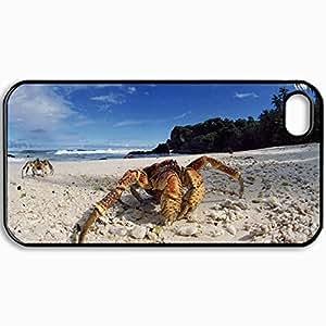 Fashion Unique Design Protective Cellphone Back Cover Case For iPhone 4 4S Case Crab Black
