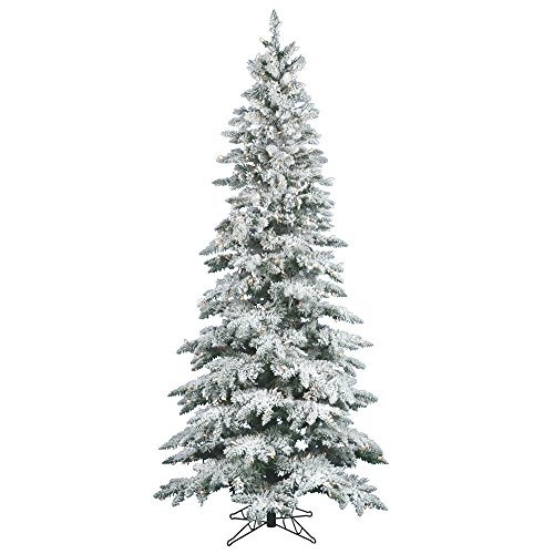 Vickerman Flocked Slim Utica Tree with Dura-Lit 300 Clear Lights, 6.5-Feet by 39-Inch (Pre Trees Lit Entry)