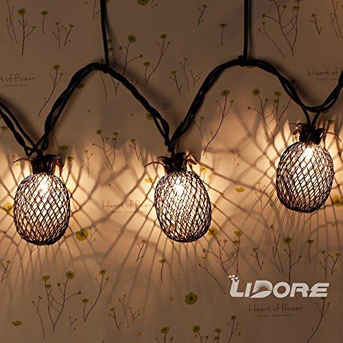 LIDORE Set of 10 Metal Pineapple Shaped Lanterns String Lights. Best For Indoor/Outdoor ...