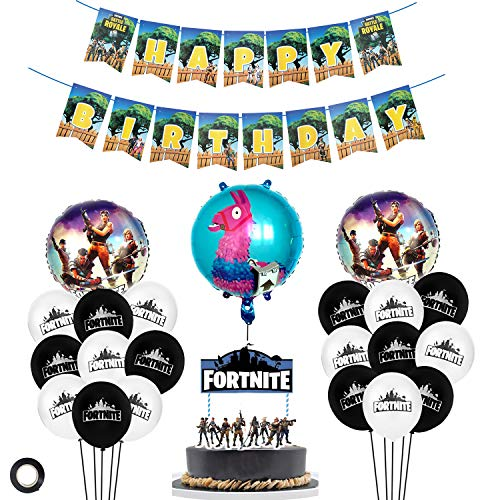 25 Pack Gaming Party Supplies Set/Gamer party Decorations/Birthday Gaming Foil and solid Latex Balloons/Video Game Cake Topper for Gaming Birthday Party Decorations