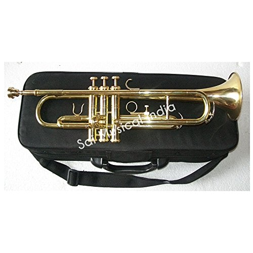 Sai Musical India Bb low pitch brass musical instrument TRUNMPET brass made for INTERMEDIATE student with cushioned hard case by Sai Musical India