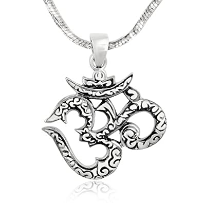 Amazon 925 sterling silver om ohm hindu yoga symbol pendant on 925 sterling silver om ohm hindu yoga symbol pendant on alloy necklace chain 18 inches aloadofball Images