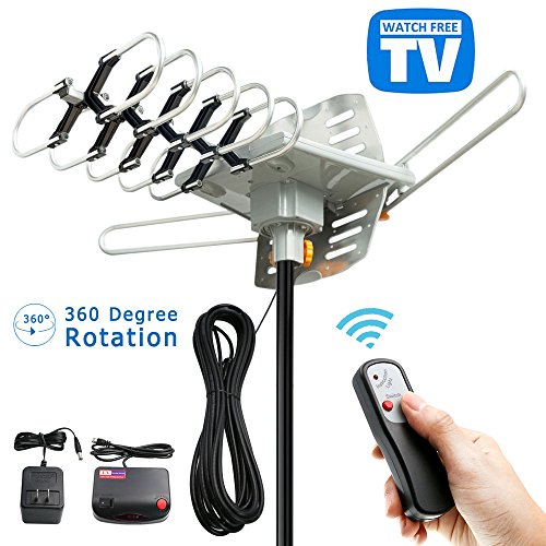 TV Antenna - Outdoor Digital HDTV Antenna 150 Mile Motorized OTA 360 Degree Rotation, Amplified HD TV Antenna for 2 TVs Support - UHF/VHF 4K 1080P Channels Wireless Remote Control - 33FT Coax Cable