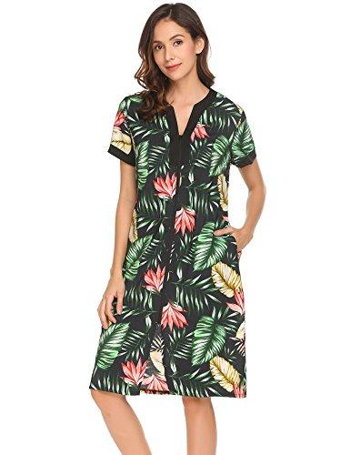 Short Sleeve Front Pocket (Ekouaer Women Short Sleeve Robes, Zipper Front Sleepwear Dress With Pocket Pat2 XXL)