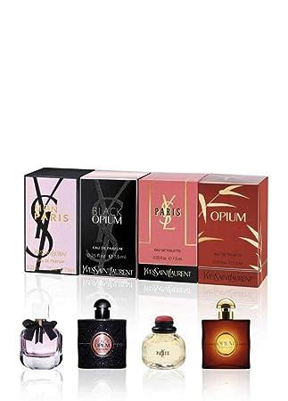 Yves Saint Laurent Ysl Perfume Miniaturas Travel Set Para Mujer Eau De Toilette Eau De Perfume Opio París Black Opium Mon Paris 0 3 Fl Oz Beauty
