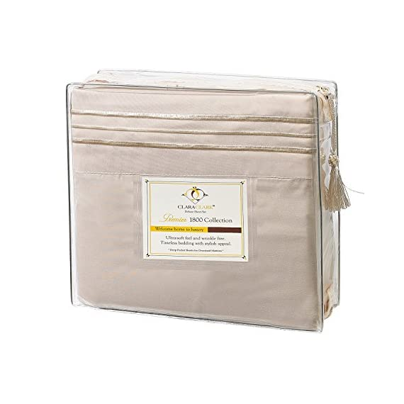 "Clara Clark 3-Piece 39 by 80-Inch Premier 1800 Collection Bed Sheet Set, Twin. - HIGHEST QUALITY - This bed sheet set is made of the best quality microfiber materials, double brushed on both sides to increase ultimate luxury and softness. With years of experience, we understand that to be comfortable in bed is very important to create a pleasant, calm, and peaceful night sleep. That's why we created this perfect Bed Sheets Set, that is super soft, luxury to the touch, cool and breathable you should be able to have the best night experience ever. TWIN XL SIZE LUXURY 3 PIECE BED SHEETS SET, WITH EXTRA DEEP POCKETS - Set Includes; 1 flat sheet 102"" x 66"", 1 fitted sheet 80"" x 39"", 1 pillowcases 20"" x 30"". Deep pocket fitted sheet for deep mattress of 14"" to 18"" inches, with an elastic all around the sheet. Pure luxury hotel spa like feel. SPECIAL EASY CARE AND SUPER COOL. - Fade, stain, shrink and wrinkle resistant. Machine washable in cold, dries quickly on tumble dry low temperature. Tip: Remove promptly from dryer, place right away on bed, it will look beautiful and neat, like ironed sheets. Additional benefits you can expect with this set: Hypoallergenic, and resistant to dust mites. - sheet-sets, bedroom-sheets-comforters, bedroom - 51WNq9pEeJL. SS570  -"