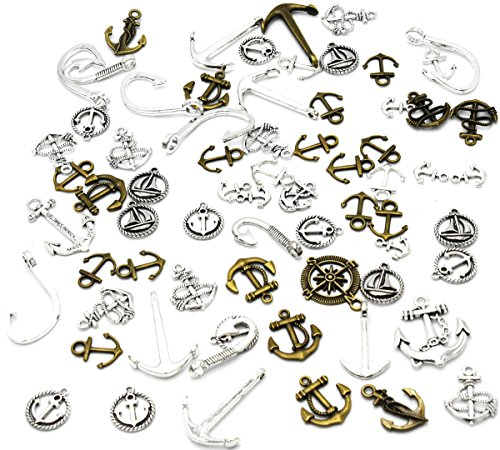 Youkwer 100 Gram Assorted Antique Nautical Anchor Ship Fishhook Accessories Charms Pendant Connector for DIY Jewelry Making and Crafting (Antique Bronze and Silver)