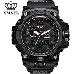SMAEL Men's Sports Analog Quartz Watch Dual Display Waterproof Digital Watches with LED Backlight relogio masculino (Black)