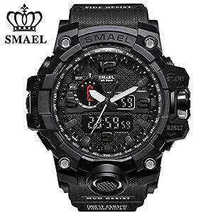 Richermall Men's Sports Analog Quartz Watch Dual Display Waterproof Digital Watches with LED Backlight relogio masculino