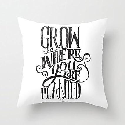 """Yahouse - Funda de cojín decorativa con texto en inglés """"Grow Where You are"""