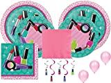 Spa Girl Makeup Birthday Party Decorations and Entertaining Pack Includes Plates, Napkins, Balloons and Danglers