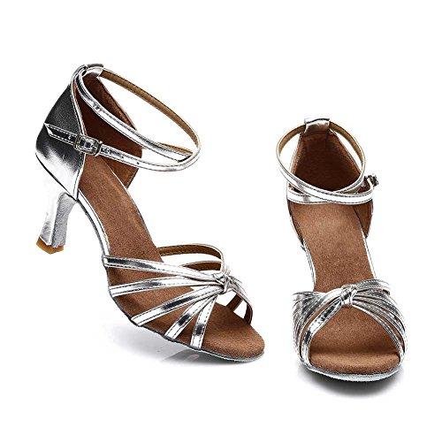 Danse HROYL Argent Satin Danse Chaussures de Chaussures Femmes Modèle 217 de Latine 7cm EEp6Zw