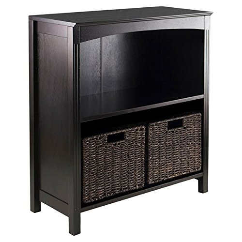 30'' Standard Bookcase in Brown with Espresso Finish Storage Basket Included Shelf Material is Wood Finished Back