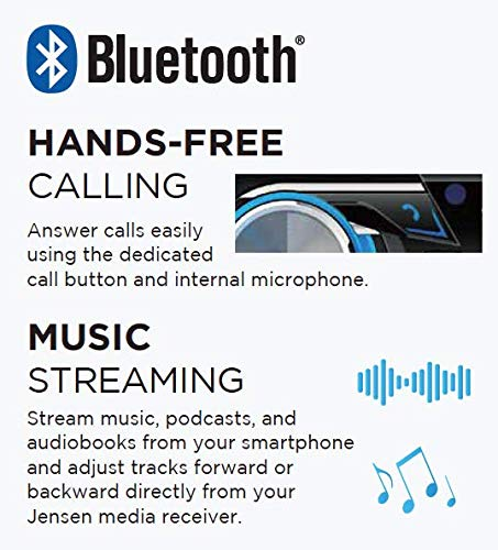 Bluetooth USB JENSEN MPR419Q 7 Character LCD Single DIN Car Stereo Receiver Push to Talk Assistant Motorized Phone Mount with Qi Wireless Charging