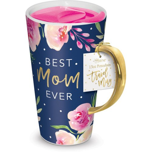 Lady Jayne 13oz Ceramic Coffee Travel Mug with Lid (Navy Roses) (Ceramic Coffee Rose Mug)